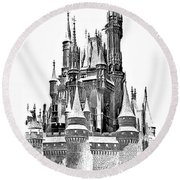 Hall Of The Snow King Monochrome Round Beach Towel