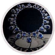 Hall Sapphire And Diamond Necklace Round Beach Towel