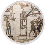 Halleys Comet Of 1066, Bayeux Tapestry Round Beach Towel