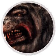 Halloween -  Mad Dog Round Beach Towel by Mike Savad