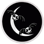 Halloween Bats And Crescent Moon Round Beach Towel