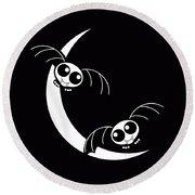 Halloween Bats And Crescent Moon Round Beach Towel