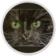 Halloween Black Cat I Round Beach Towel
