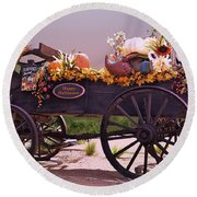Halloween Cart Full Of Fall Harvest Goodies  Round Beach Towel