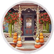 Halloween In A Small Town Round Beach Towel