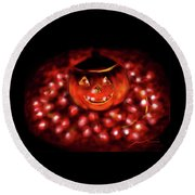 Halloween Lights Round Beach Towel