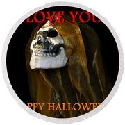 Halloween Love Round Beach Towel