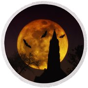 Halloween Moon Round Beach Towel