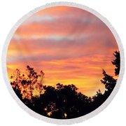 #halloween #morning #sky Is On #fire Round Beach Towel