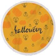 Halloween Pumpkins Round Beach Towel