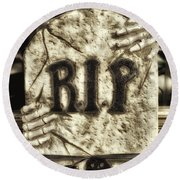 Halloween Rip Rest In Peace Headstone Round Beach Towel