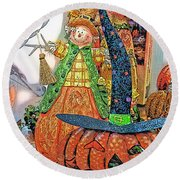 Halloween Scarecrow And Pumpkin Pa 02 Vertical Round Beach Towel