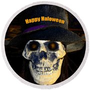 Halloween Skull With Hat Round Beach Towel