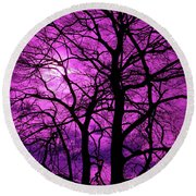 Halloween Trees No 3 By Dm Carpenter Round Beach Towel
