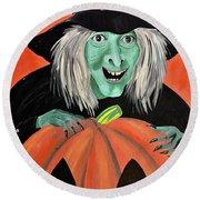 Halloween Witch And Pumpkin Art Round Beach Towel