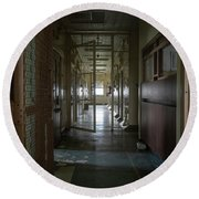 Hallway With Solitary Confinement Cells In Prison Hospital Round Beach Towel