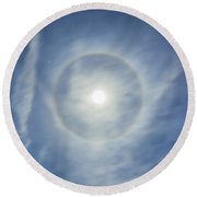 Halo Around Full Moon In A Sky Round Beach Towel