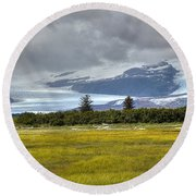 Hallo Glacier And A Bear Round Beach Towel