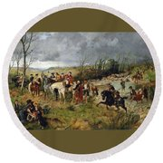 Halt Of Prince Charles Edward On The Banks Of The Nairne Round Beach Towel