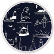 Hamburg In Miniature Round Beach Towel