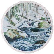 Hamburg Mountain Stream Round Beach Towel
