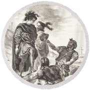 Hamlet And Horatio Before The Gravediggers (act V, Scene I) Round Beach Towel