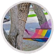 Hammock Time In The Florida Keys Round Beach Towel