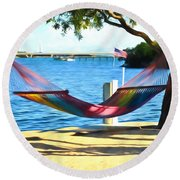 Hammock Time In The Keys Round Beach Towel
