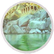 Hampi On Tungabadra 2 Round Beach Towel