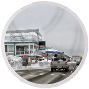 Hampton Beach Nh After The Storm Round Beach Towel