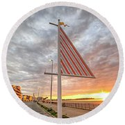 Hampton Beach Sunrise Hampton Beach State Park Hampton Nh Flag Round Beach Towel