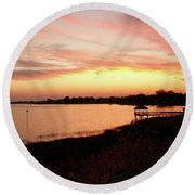 Hampton Virginia Sunset Round Beach Towel