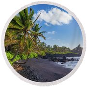 Hana Bay Palms Round Beach Towel by Inge Johnsson