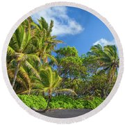 Hana Palm Tree Grove Round Beach Towel by Inge Johnsson