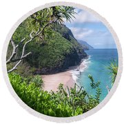Hanakapiai Beach Round Beach Towel
