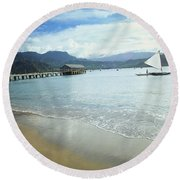 Hanalei Bay Outrigger Round Beach Towel