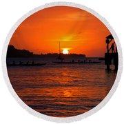 Hanalei Sunset Round Beach Towel by Mike  Dawson