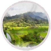Hanalei Valley Round Beach Towel