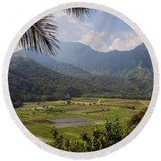 Hanalei Valley Taro Fields - Kauai Round Beach Towel