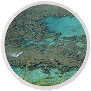 Hanauma Bay Reef And Snorkelers Round Beach Towel