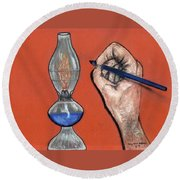 Hand Drawing Lamp Round Beach Towel