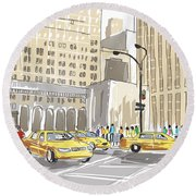 Hand Drawn Sketch Of A Busy New York City Street Round Beach Towel