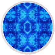 Hand-dyed Blue And Turquoise Fabric With Zig Zag Stitch Details  Round Beach Towel
