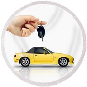 Hand Holding Key To Yellow Sports Car Round Beach Towel