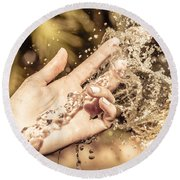 Hand Of A Woman Catching Water Stream Round Beach Towel