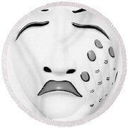 Hand On Face Mask B W Round Beach Towel