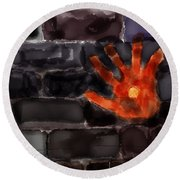 Hand On The Hole On The Wall Round Beach Towel