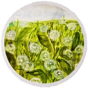 Hand Painted Picture, Meadow With White Dandelines Round Beach Towel