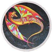 Hand Painted Silk Scarf Dragon On Black Round Beach Towel