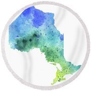 Hand Painted Watercolor Map Of Ontario, Canada In Blue And Green  Round Beach Towel